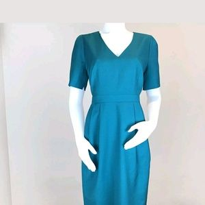 J Crew Suiting Wool Sheath Dress Teal Size 12
